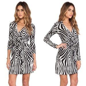 DVF New Jeanne Two Mini Zebra Wrap Cocktail Dress